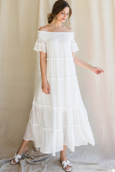 Solid Off the Shoulder Maxi, White