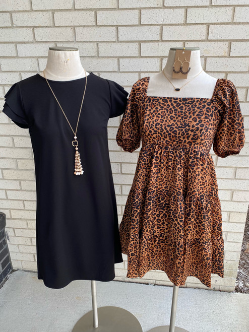 Leopard Square Neck Puff Sleeve Dress, Brown