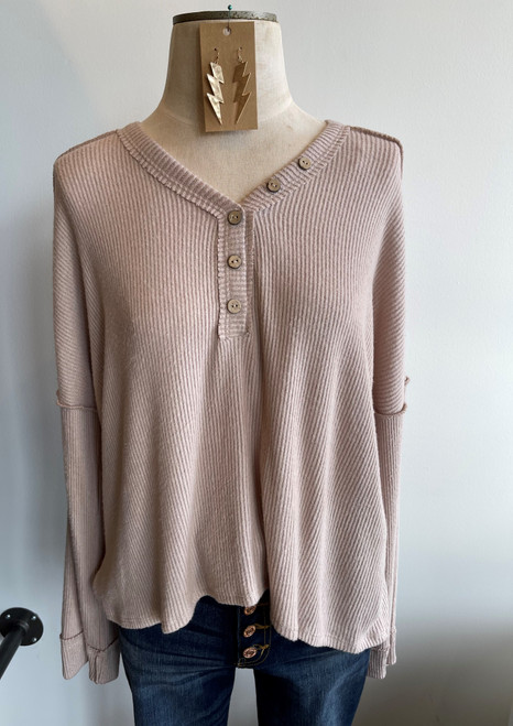 Long Sleeve Ribbed Top, Taupe