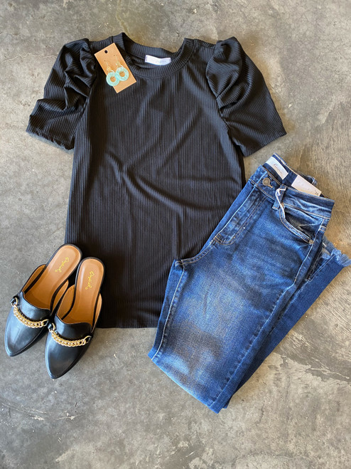 Ribbed Puff Sleeve Top, Black
