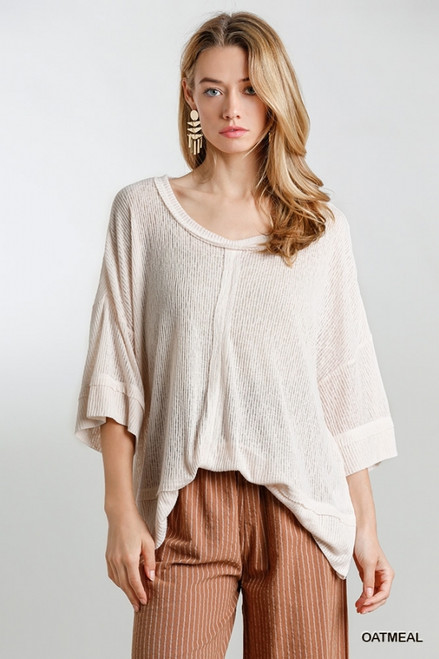 Sheer 3/4 Sleeve Round Neck Top, Oatmeal