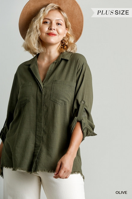 Curvy Collared Button Down, Olive