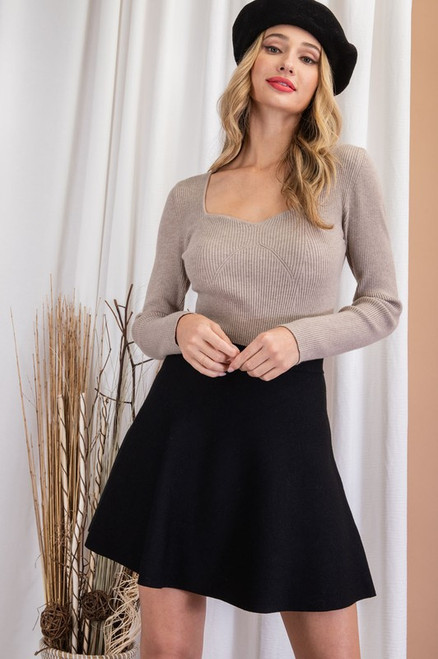 Sweetheart Ribbed Knit Sweater, Oatmeal