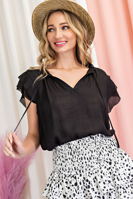 Tiered Ruffle Sleeve SS Blouse, Black