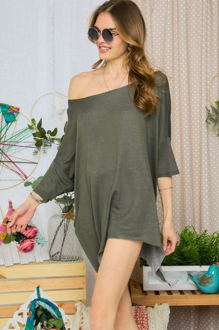 French Terry Round Neck Top, Olive