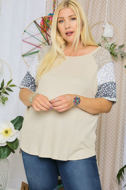 Curvy Leopard Sleeve Top, Taupe/Leopard