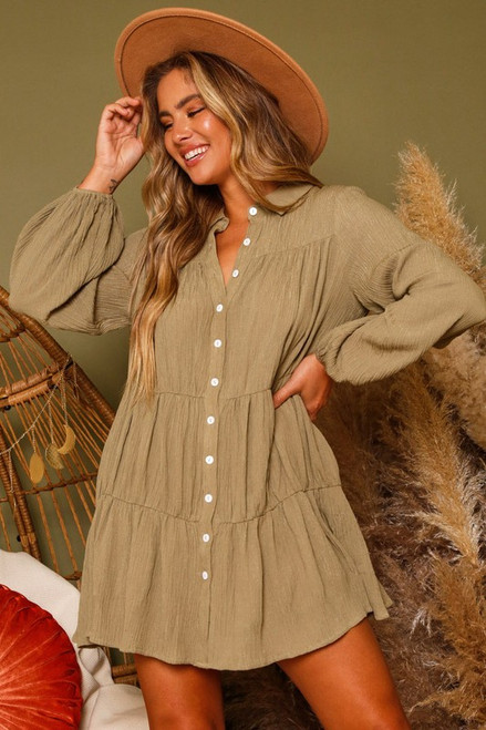 Button Down Tiered Dress, Olive