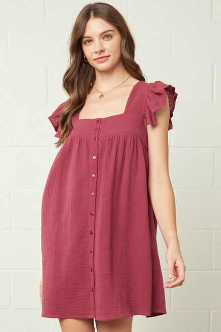Square Neck Babydoll Ruffle Sleeve Dress, Red Bean