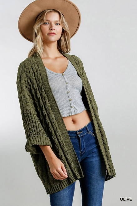 Open Front Cable Knit Sweater, Olive