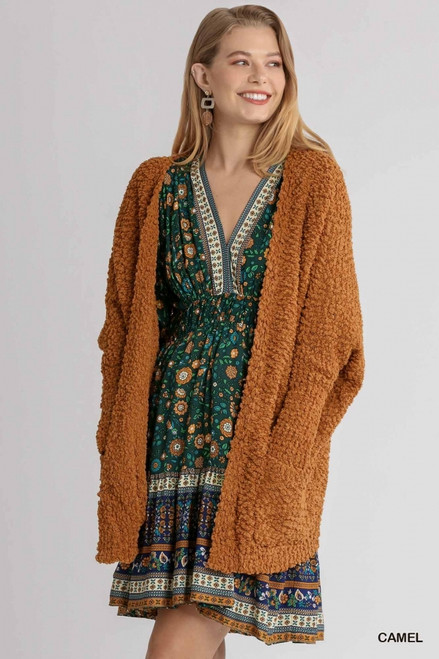 Oversized Open Front Cardigan Sweater, Camel