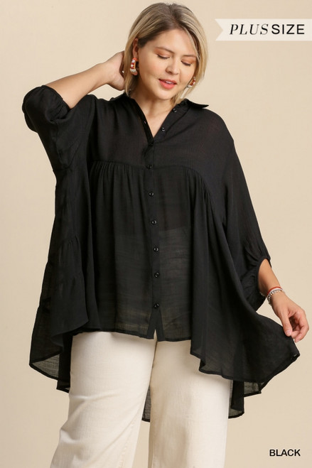 Curvy Sheer Collared Button Down Top, Black