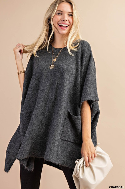 Round Neck Poncho Sweater, Charcoal