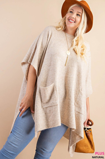 Curvy Round Neck Poncho Sweater, Natural