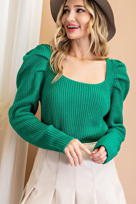 Puff Sleeve Back Tie Ribbed Knit Sweater, Kelly Green