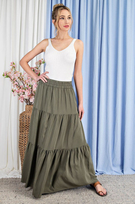 Tiered Maxi Skirt, Olive