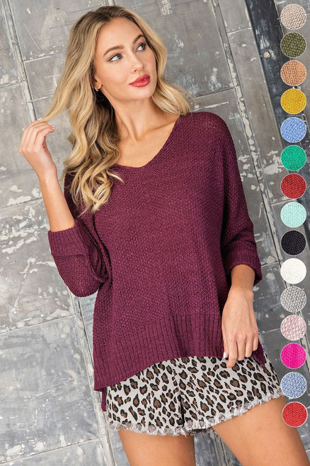 Open Knit Crew Neck Sweater, Red Bean