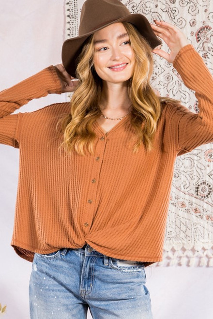 Waffle Knit Front Twist LS Top, Camel