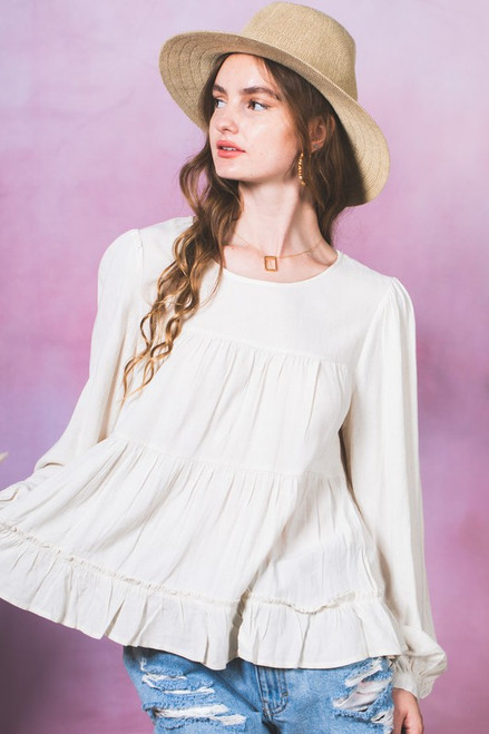 Tiered Ruffle Button Back Top, Oatmeal