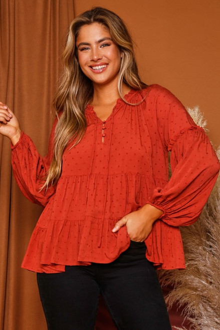 Long Bubble Sleeve Tiered Top, Rust
