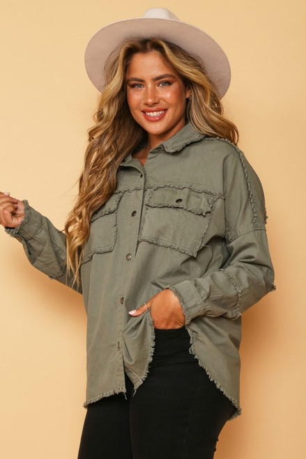 Raw Edge Detail Button Down Jacket, Olive
