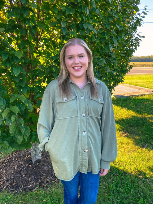 French Terry Jacket, Olive