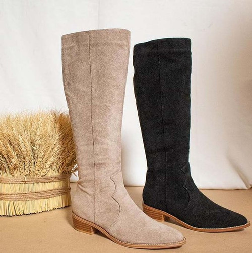 To-the-Knee Suede Boots, Taupe