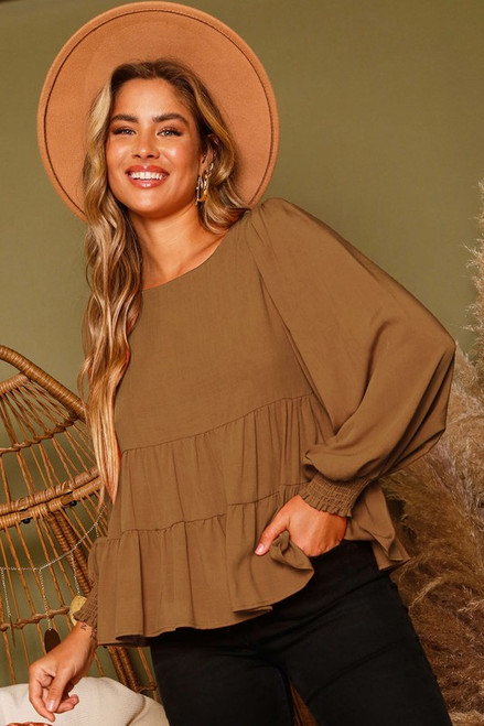 Tiered Top w/ Long Puff Sleeve, Camel