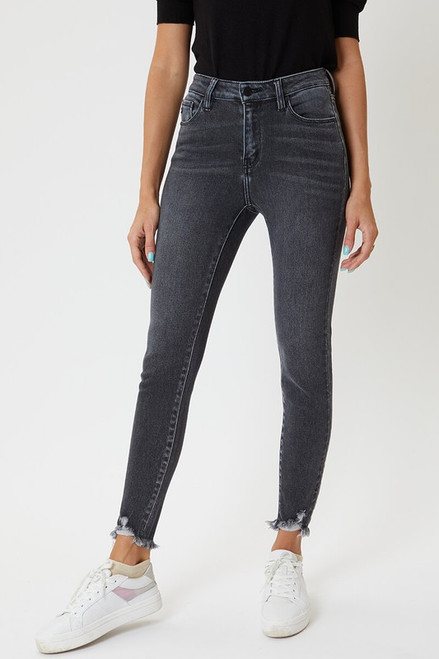 High Rise Ankle Skinny Faded Black Jean, Light