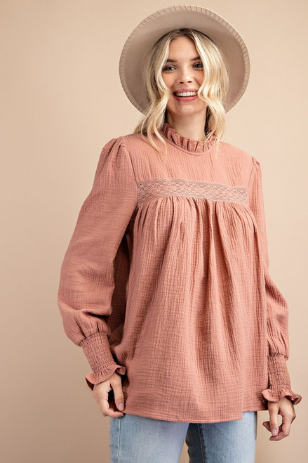 Solid French Style Gauze Top, Ginger