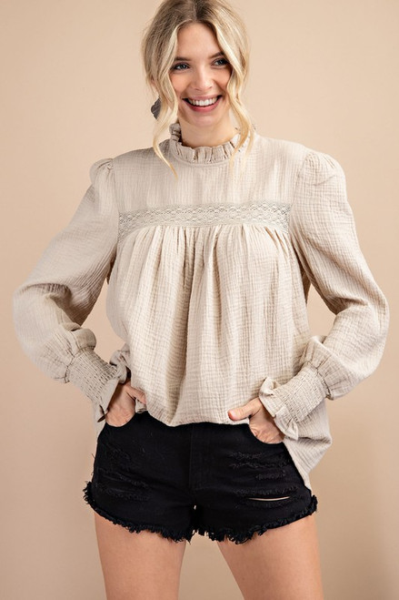 Solid French Style Gauze Top, Natural