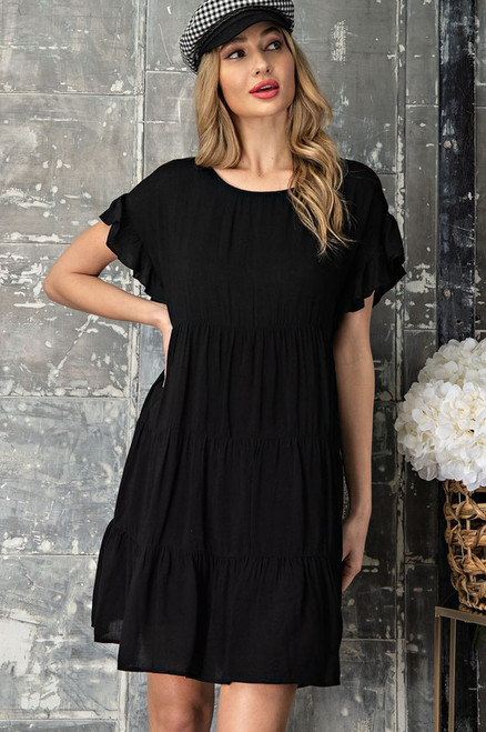 Mineral Washed Tiered Dress, Black