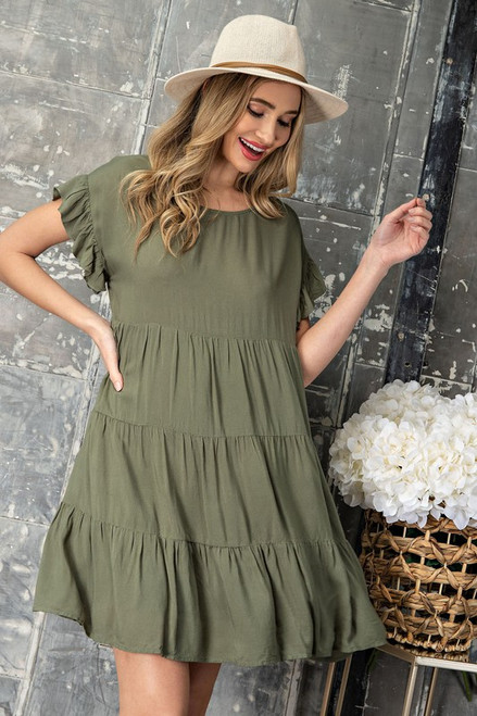 Mineral Washed Tiered Dress, Olive