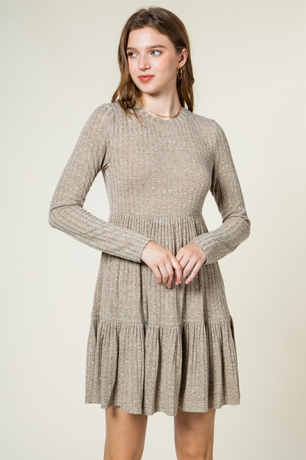 Casual Ribbed Tiered Comfy Knit Dress, Olive