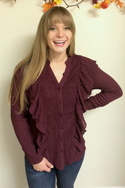 The Button Detail Ruffle Top, Wine