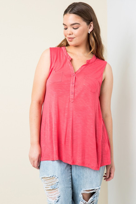 The Curvy S/L Tunic, Cherry