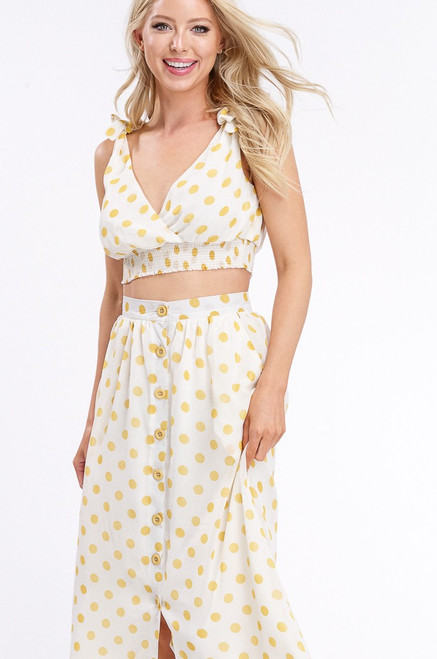 The Polka Dot 2pc Skirt Set, Ivory