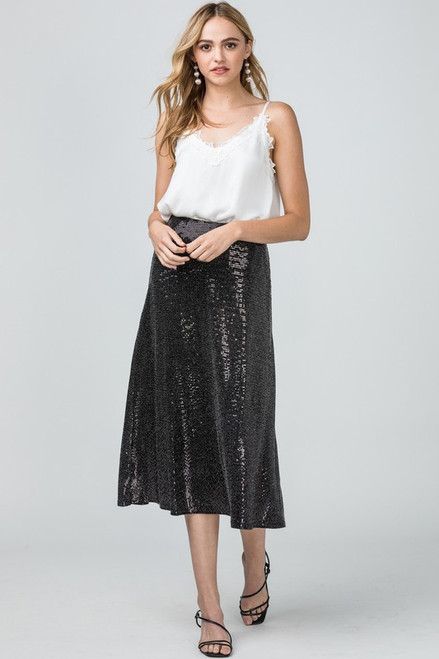 Sequin Midi Skirt, Black