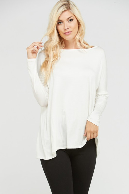 Solid Loose Fit Tunic Top, Ivory