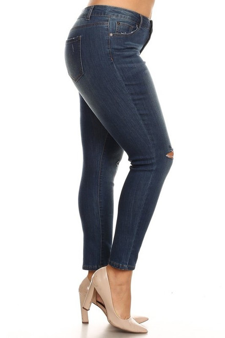 Curvy Mid Rise Distressed Jean, Dark
