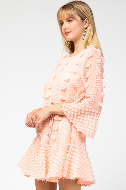 Textured Ruffle Hem Dress, Peach