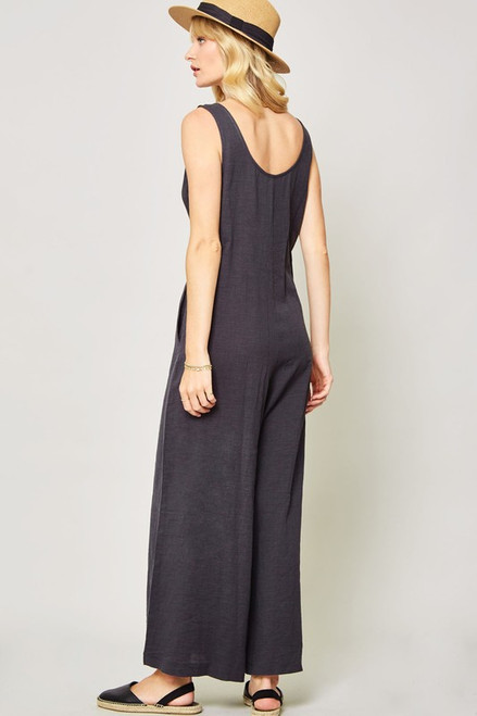 Criss Cross Tied Jumpsuit, Charcoal