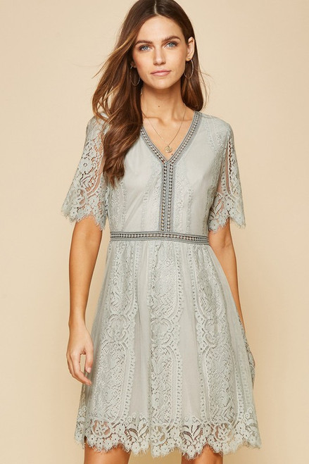 Scalloped Lace Sleeved Dress, Light Grey