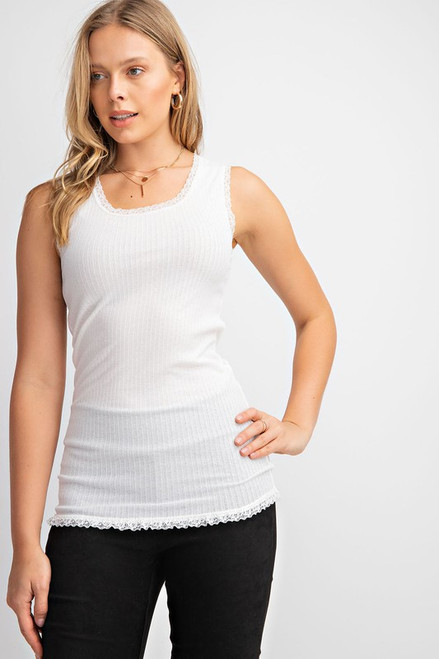 Scoop Neck Ribbed Tank, White