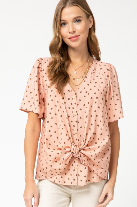 V-Neck Front Tie Button Up, Blush