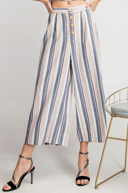 Multi Stripe Wide Leg Pants, Navy