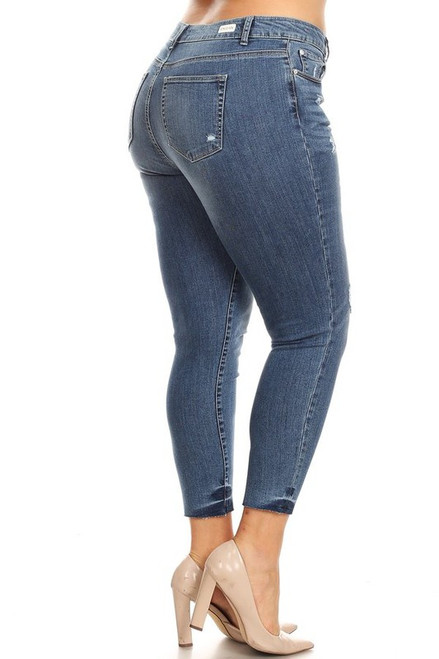 Curvy Distressed Midrise Skinny, Light