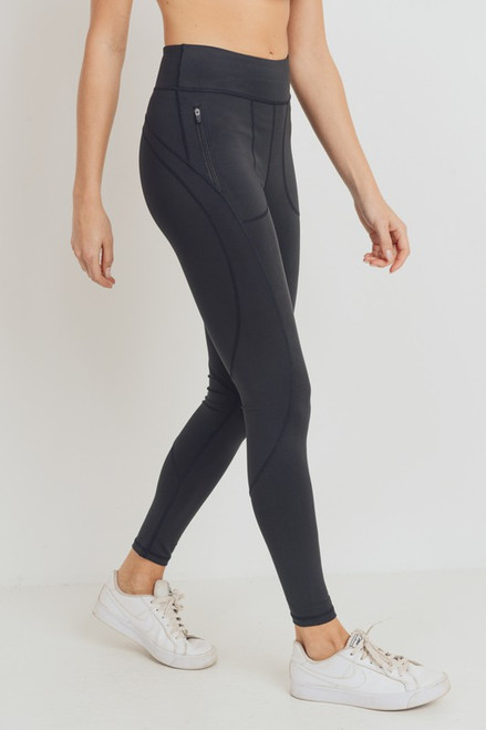 Side Zippered Pocket Highwaist Leggings, Black