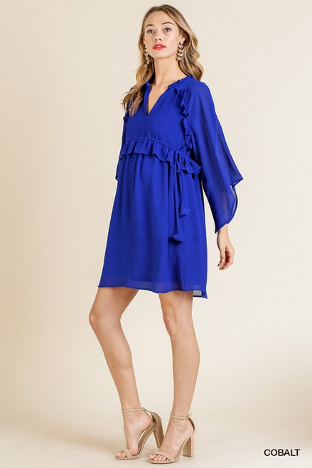 Angel Sleeve Ruffle Dress, Cobalt