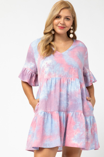 Curvy Tie-Dye Tiered Dress, Pink Combo