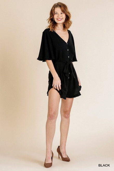 Ruffle Sleeve V-Neck Button Romper, Black